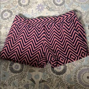 Loft pink and navy chevron patterned shorts